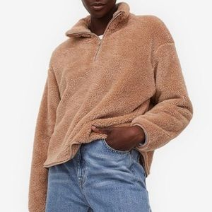 H&M Faux Shearling Half Zip Pull Over Sweater